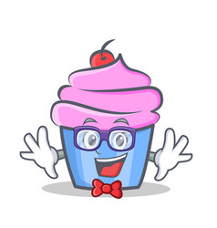 Geek cupcake character cartoon style vector