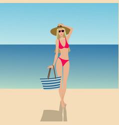 Girl in swimsuit vector