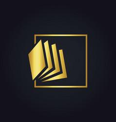 gold book abstract education logo vector image