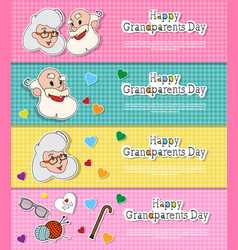 happy grandparents day greeting cards set colorful vector image vector image