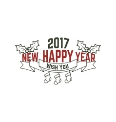 Happy new year 2017 typography wish sign vector