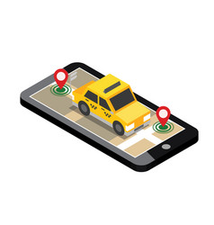 Isometric location mobile geo tracking map taxi vector