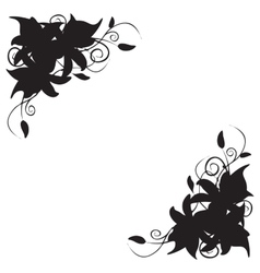 Lily corner ornament vector