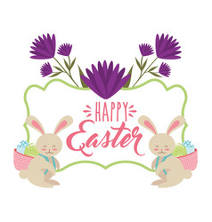 Rabbits with basket in back with eggs happy easter vector