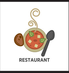 Restaurant icon template of soup plate vector