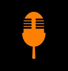 Retro microphone sign orange icon on black vector