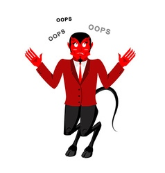 Satan speak oops surprised by demon red devil is vector