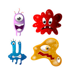 Set of cartoon bacteria fun characters cute vector