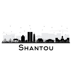 Shantou china skyline black and white silhouette vector