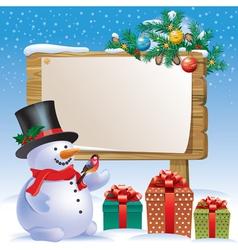 Snowman wooden sign vector