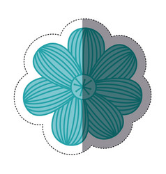 Sticker color sketch of flower with stripes vector