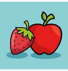 strawberry and apple fresh fruit isolated icon vector image vector image