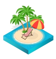 Summer travel concept On the beach Flat 3d vector image vector image