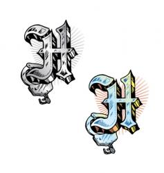 tattoo letter H vector image vector image