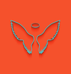 wings sign whitish icon on vector image