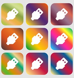 USB icon Nine buttons with bright gradients for vector image