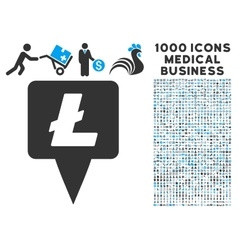 Litecoin map pointer icon with 1000 medical vector