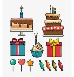 birthday celebration set icons vector image