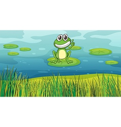 A smiling frog in the pond vector