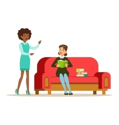 Woman sitting on sofa reading a book talking to a vector