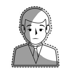 Sticker silhouette half body man formal style vector