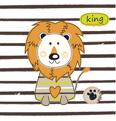 with cute lion vector image