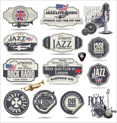 Music stamps and labels vector image