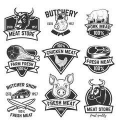 Set of fresh beef labels isolated on white vector