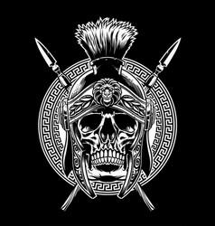 skull of roman warrior with sword crossed vector image