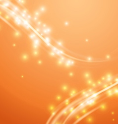 Bright orange swoosh speed glow smooth lines vector