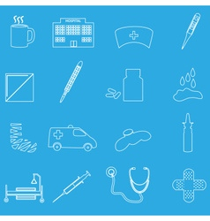 Hospital and sick outline icons set eps10 vector