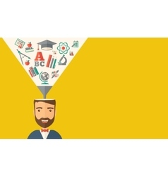 Man with icons student ideas vector