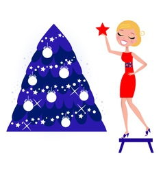 Decorating the christmas tree vector