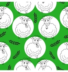 Seamless pattern with curly sheep on a green vector