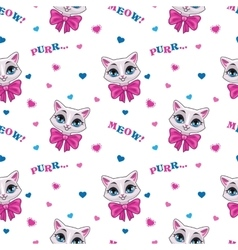 Pretty seamless pattern with cute kitty vector