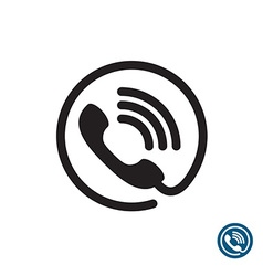 Phone black simple icon round with wire and sound vector