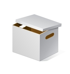 White cardboard brown inside carton package box vector