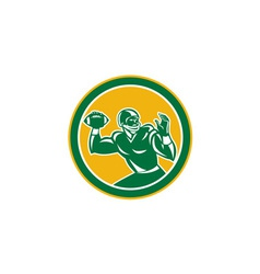 American football quarterback circle retro vector