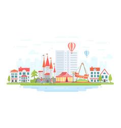 amusement park - modern flat design style vector image
