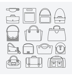 Bag thin line icons vector image