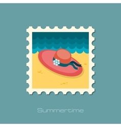Beach hat flat stamp vector