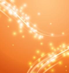 Bright orange swoosh speed glow smooth lines vector image