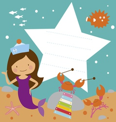 Card with cute mermaid and sea musiciants vector