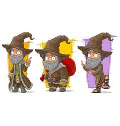 cartoon wizard with big hat character set vector image vector image