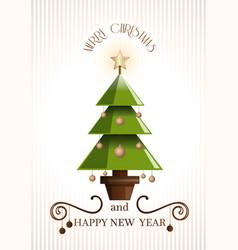 Christmas retro design with christmas tree vector