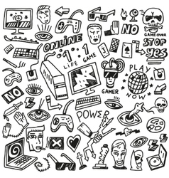 computer games - doodles set vector image vector image