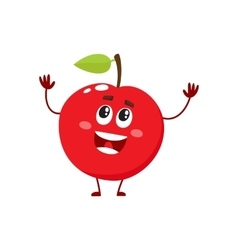 Cure and funny red apple character mascot vector