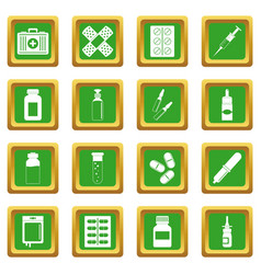 Different drugs icons set green vector