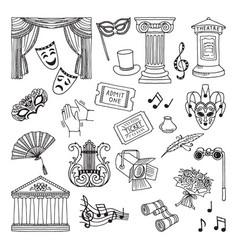 Doodle set of theatre symbols lira vector