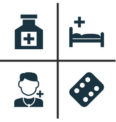 Drug icons set collection of polyclinic vector